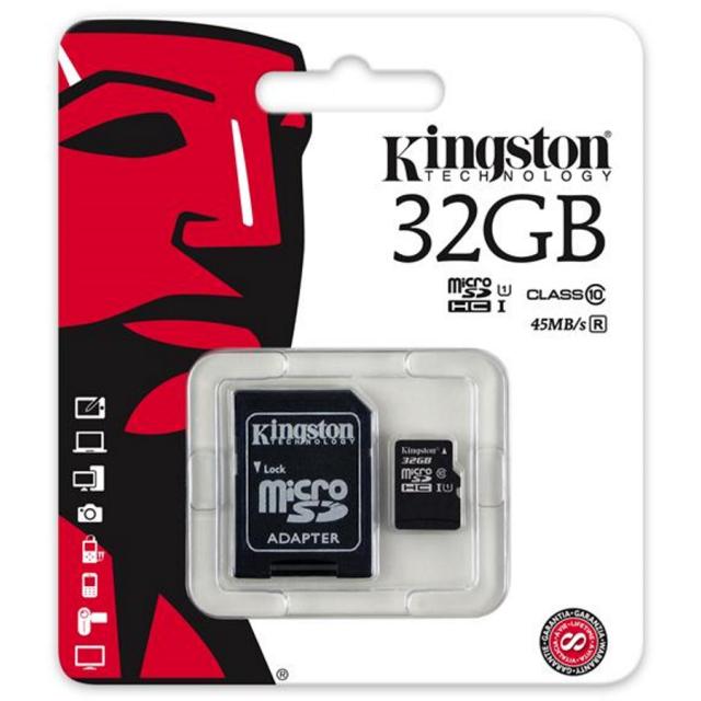 Kingston MICRO SDHC 32GB Class 10 UHS-I + Adapter