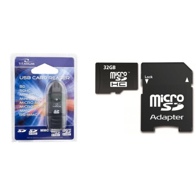Memory Card SDHC 32GB Class 10 + Titanum TA101K